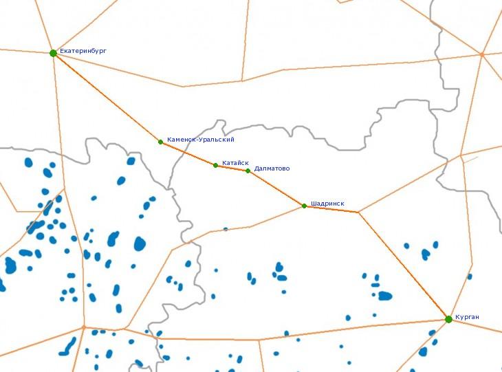 Карта-схема автодороги Р-354