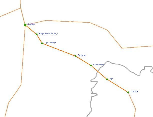 Карта-схема автодороги Киров -