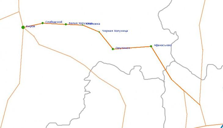 Карта-схема автодороги Киров