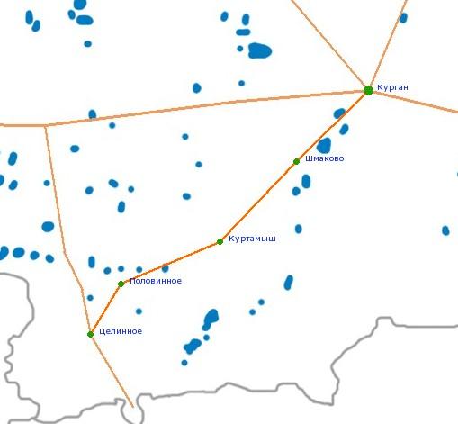 Карта-схема автодороги Курган