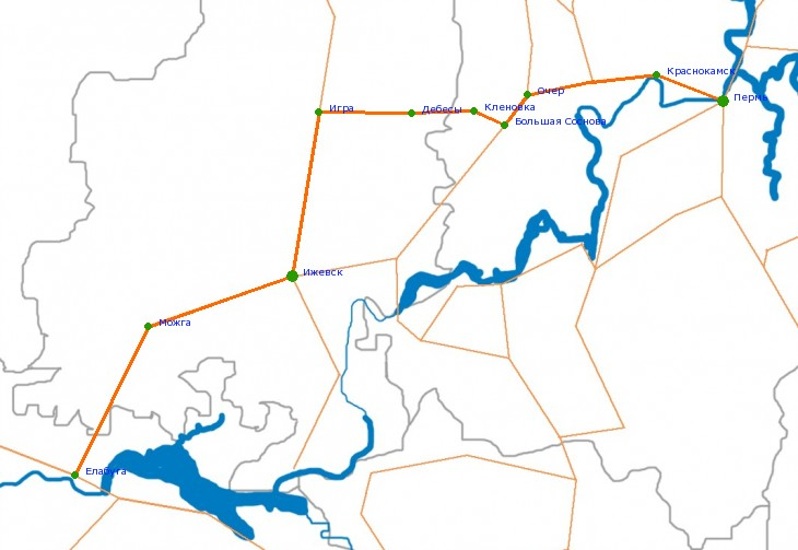 Карта-схема автодороги М-7