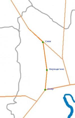 Карта-схема автодороги Очёр