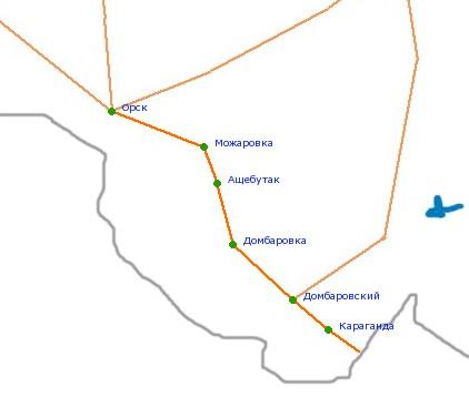 Карта-схема автодороги Орск -