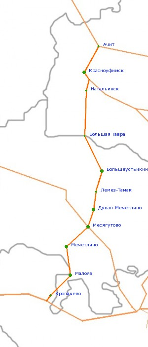 Карта-схема автодороги Р-350