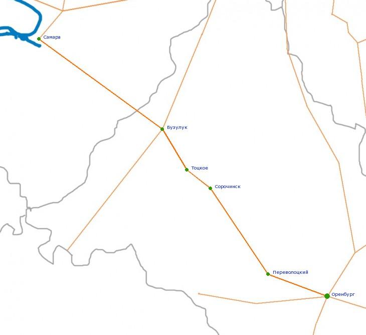Карта-схема автодороги Самара