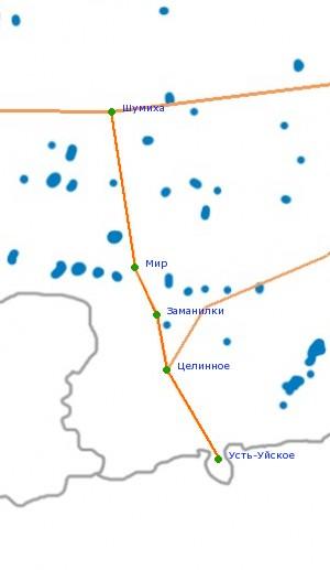 Карта-схема автодороги Шумиха
