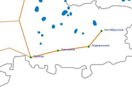 Карта-схема автодороги Троицк