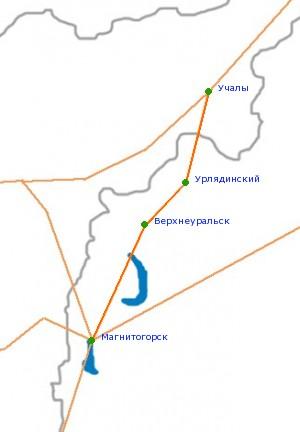 Карта-схема автодороги Учалы -