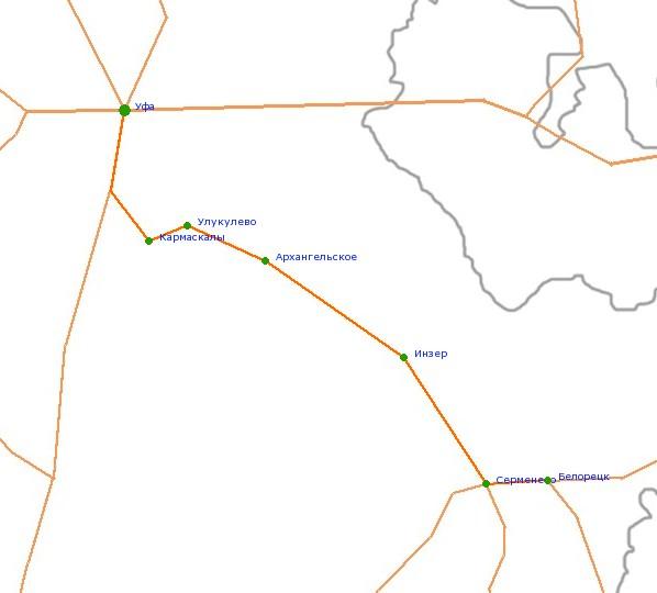 Карта-схема автодороги Уфа -